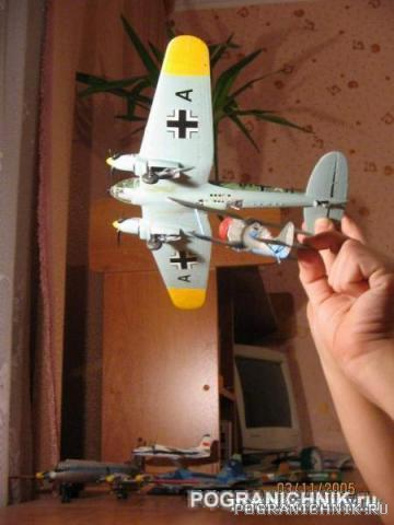 И-153 атакует Не-111. (Grey Wolf  зацени!)