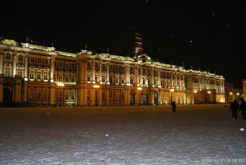 В ночном Питере.  Зимний дворец.