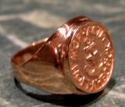 Памятный перстень МЧПВ из золота
